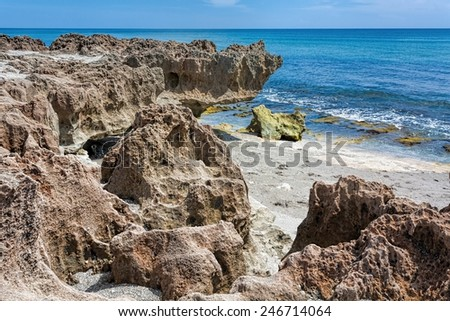 "These ""rocks"" are actually low mounding structures that form living reefs along the coast of Florida and are made by numerous tiny marine bristle worms of the family Sabellariidae - stock photo"