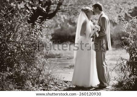 These romantic happy moments of wedding romantic couple.  - stock photo