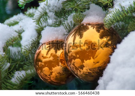 These snow covered gold ornaments on a Christmas Tree in Santa Fe New Mexico reflect the beautiful adobe walls and buildings during the winter season. - stock photo