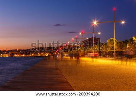 Thessalokini seafront with lights and reflections in the evening - stock photo