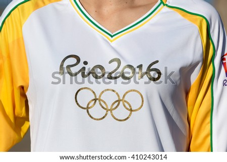 Thessaloniki, Greece - April 23, 2016: The logo of Olympics Games RIO 2016 on clothes wearing athlete