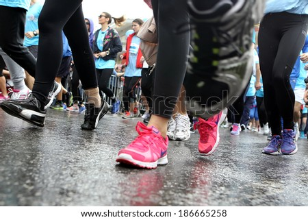 THESSALONIKI, GREECE - APRIL 6, 2014 : Unidentified people running during the 9th Marathon Alexander the Great. The marathon is an annual event.