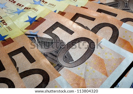 THESSALONIKI, GREECE - AUG 23: Banknotes Euros 50 on August 23, 2012 in Thessaloniki,Greece. - stock photo