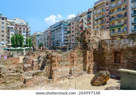THESSALONIKI, GREECE - AUGUST 13, 2014: Archaeological excavations of the palace of the Roman Emperor Galerius (III century) in Thessaloniki, Greece