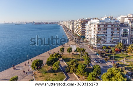 THESSALONIKI, GREECE - DECEMBER 29: Panoramic view of the seafront from the White Tower on December 29, 2015 in Thessaloniki. Thessaloniki is the second largest city in Greece. - stock photo