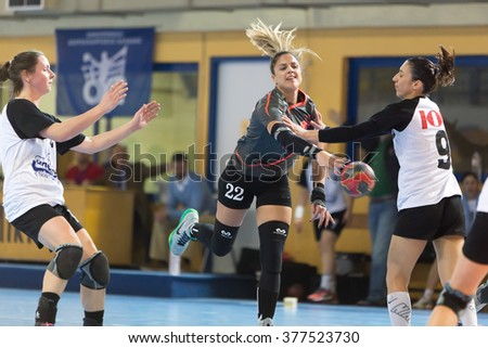 Thessaloniki, Greece - February 13, 2016: Handball player in action during the Greek Women Cup Final handball game Arta vs Nea Ionia