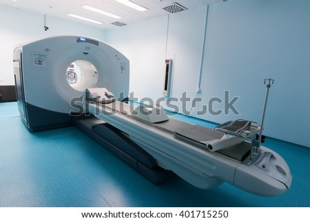 Thessaloniki, Greece - February 17, 2016: Official opening of the first CT imaging PET-CT scanner (PET-SCAN) in northern Greece in the hospital C. Papageorgiou  - stock photo