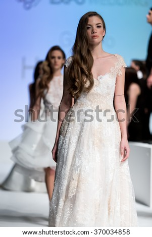 Thessaloniki, Greece, January 16 2016: A model walks the runway during fashion show 14th Expo Wedding.