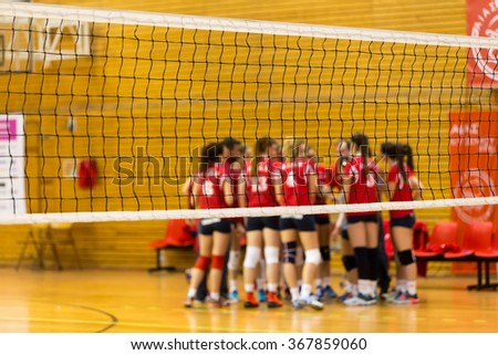 Thessaloniki, Greece, January, 23 2016: Players in action during the Greek Women Volleyball League game Aias vs Panathinaikos at Municipal Stadium Evosmos. Selective focus