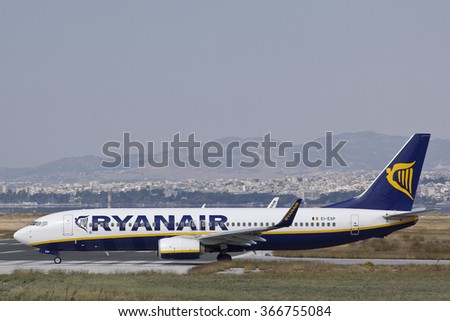 Thessaloniki, Greece - 23 July 2013. Ryanair Boeing 737-800 on the taxiway ready for take off at Thessaloniki international airport. Ryanair is for Thessaloniki one of the major operators.  - stock photo