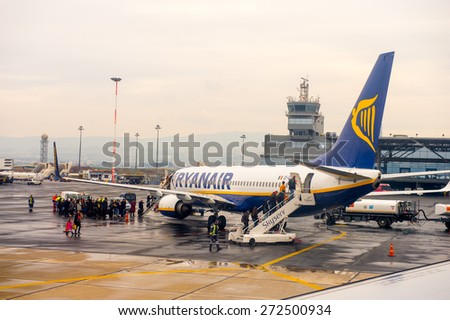 THESSALONIKI, GREECE - MAR 23, 2015: Ryanair aircraft in the Thessaloniki International Airport Macedonia. it's a hub for Aegean Airlines, Astra Airlines, Ellinair, Ryanair - stock photo