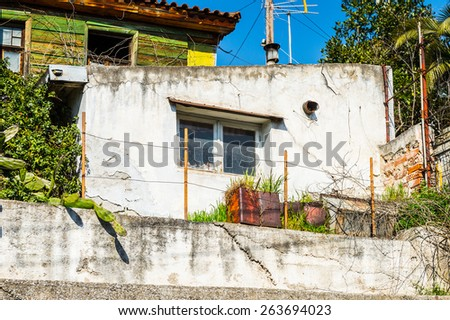 THESSALONIKI, GREECE - MAR 18, 2015: Small houses of Thessaloniki, Greece. Thessaloniki is the capital of Greek Macedonia, a popular touristic destination