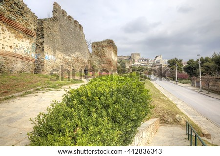 THESSALONIKI, GREECE - March 14.2016: Road along an old fortress wall