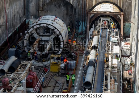 Thessaloniki, Greece - March 28, 2016: Tunnel Boring Machines at construction site of metro in Thessaloniki going back to work after four years - stock photo