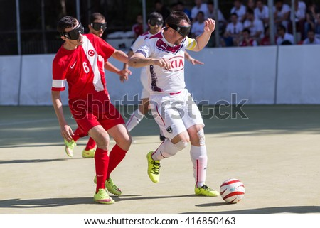 Thessaloniki, Greece - May 7, 2016: Undefined players in action during of 2nd IBSA Euro Challenge Cup and Thessaloniki International Blind Football Tournament between the teams Bordeaux vs Turkey