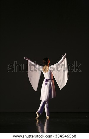 Thessaloniki, Greece, May 15 2015:  Unidentified dancers of dance school during performances ballet state theatre of Thessaloniki