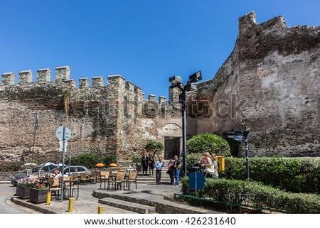 THESSALONIKI, GREECE - MAY 15, 2016: Walls of Thessaloniki are the city walls surrounding the city of Thessaloniki during the Middle Ages. Part of the walls. - stock photo