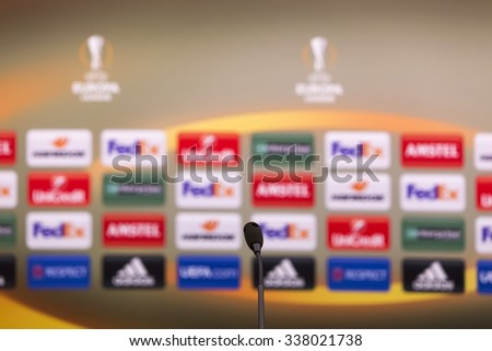 Thessaloniki, Greece, Oct  1, 2015: Empty press conference room before the UEFA Europa League match between PAOK vs Borussia Dortmund played at Toumba Stadium. Image with shallow depth of field