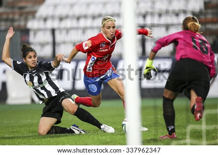 Thessaloniki, Greece, Oct  7, 2015: Some players in action during  the UEFA Womens Champions League game between Paok vs Orebro DFF , played at Toumba Stadium