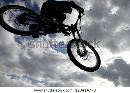 THESSALONIKI,GREECE - OCT 16: Unidentified bikers take part in Yedi Kule Runaway competition in Thessaloniki during Urban Downhill on October 16, 2011 in Thessaloniki, Greece. - stock photo