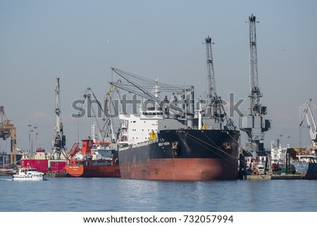 Thessaloniki, Greece - October 10, 2017. Cargo ships docked at the port of the northern Greek city of Thessaloniki.
