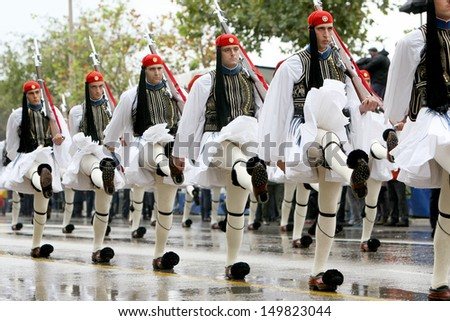 THESSALONIKI, GREECE - OCTOBER 28: On 28th of each October a parade is held for the anniversary of Greek rejection over Italian dictator on October 28, 2012 in Thessaloniki, Greece.