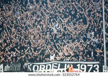 THESSALONIKI, GREECE - OCTOBER 01, 2015: PAOK fans during the UEFA Europa League match between PAOK and Borussia Dortmund played at Toumba stadium - stock photo