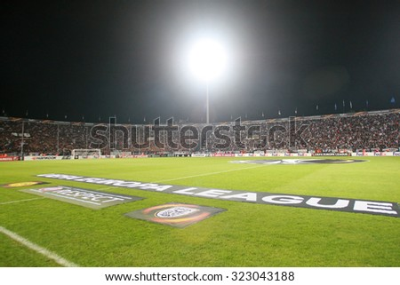 THESSALONIKI, GREECE - OCTOBER 01, 2015: Toumba Stadium before the UEFA Europa League match between PAOK and Borussia Dortmund