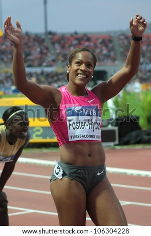 THESSALONIKI, GREECE - SEPT 12:Brigitte Foster-Hylton celebrates winning the women's 100m hurdles final at the IAAF 2009 World Athletics Final on Sept 12, 2009 in Kaftatzoglio,Thessaloniki,Greece