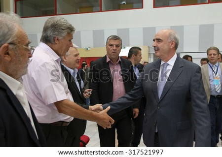 "THESSALONIKI, GREECE - SEPT 13,2015: Leader of New Democracy Evangelos ""Vangelis"" Meimarakis press conference of 80th Thessaloniki International Fair in the northern port city of Thessaloniki, Greece"