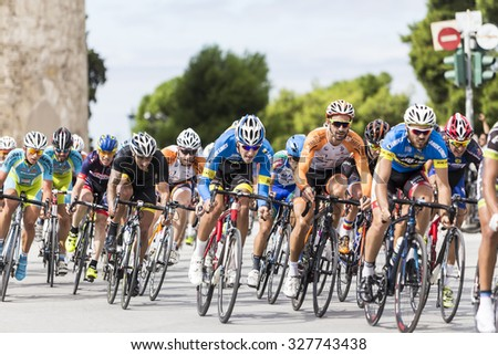 Thessaloniki, Greece, September 29 2015. Cyclists compete in the central streets of Thessaloniki during the course of the 3rd International Circuit