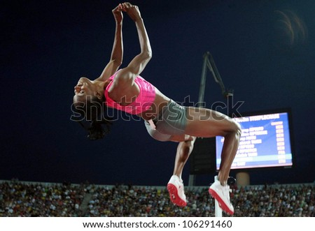 THESSALONIKI, GREECE -SEPTEMBER 12: Howard Lowe with a successful jump for the IAAF World Athletics Finals main event in Kaftatzoglio Stadium on September 12, 2009 in Thessaloniki,Greece