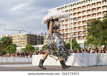 Thessaloniki, Greece, 28 September 2015. Models walk an during  outdoor fashion show with clothing made out of recycled materials was held in the seafront promenade of Thessaloniki