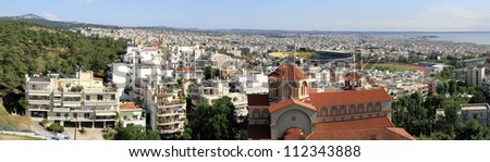 Thessaloniki  panorama.  Southeast view  from 40 Eklisies district - stock photo