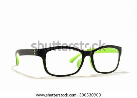 Thick black glasses on white background. - stock photo