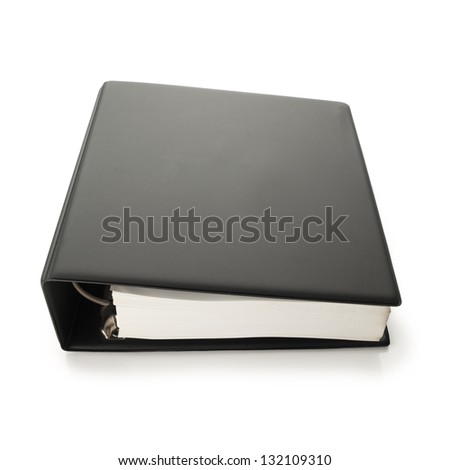 Thick blank black binder with hundreds of pages, often used for technical specifications. isolated on white - stock photo