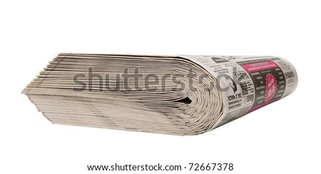 Thick bundle of newspapers isolated on white background