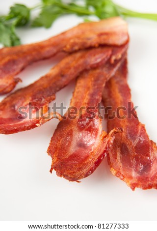 Thick Cut Cooked Bacon - stock photo