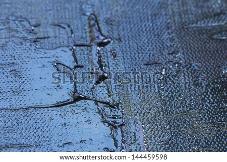 thick oil paint texture, pallet knife detail structure on canvas, macro, metallic look - stock photo