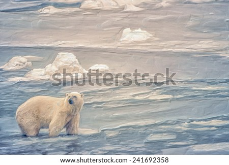 Thick oil painting of wading polar bear - stock photo