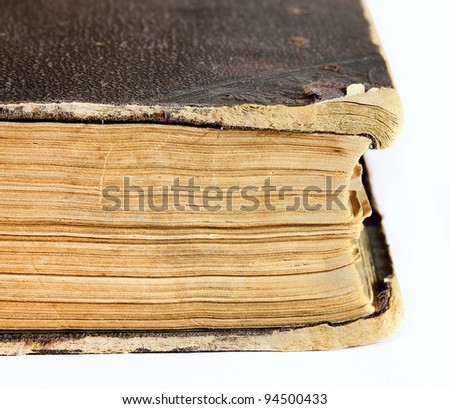 Thick old book on the background. In the closed position - stock photo