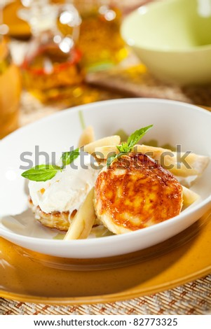 Thick Pancake with Pear and Ice Cream - stock photo