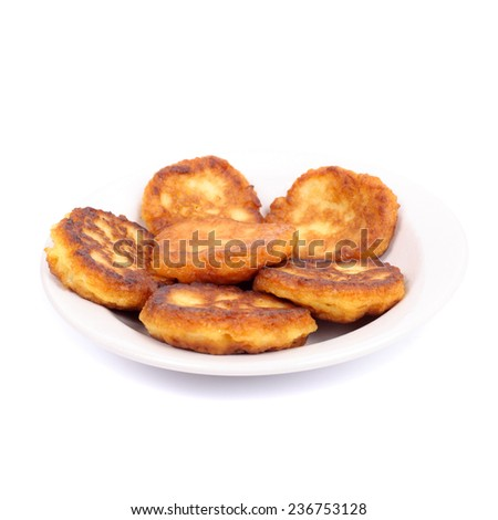 thick pancakes isolated on white