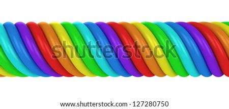 Thick rainbow spiral isolated on the white background - stock photo