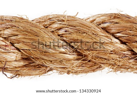 Thick rope isolated on white background - stock photo