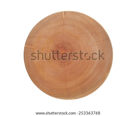 Thick round cutting board isolated on white background - stock photo