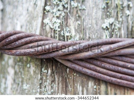 Thick steel wire on a log