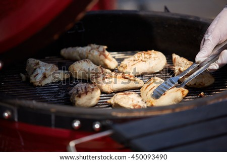 thick strip steak being grilled outdoors. Shallow dof - stock photo