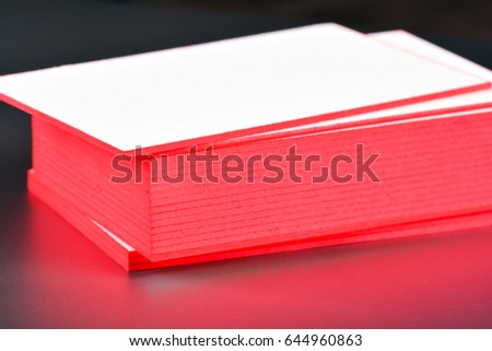 Thick white cotton paper business card stock photo edit now thick white cotton paper business card mock up with red painted edges blank business cards colourmoves