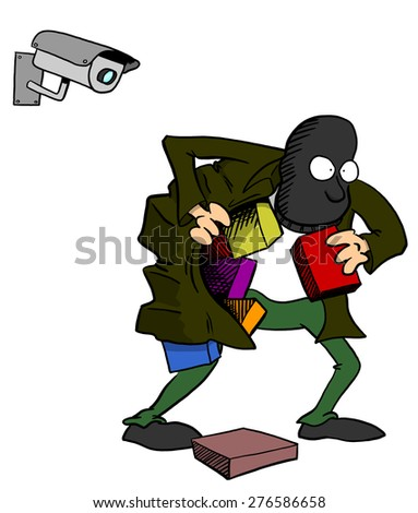Thief being watched by camera - stock photo